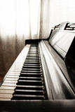 Shadowed. A side view of piano keys in a shaded room Stock Photography