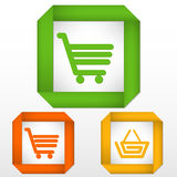 Shadowed strips cart basket. Set of labels with icons of cart and basket colored green, orange and yellow Stock Photo