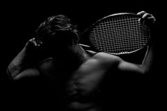 Shadowed Tennis Player Stock Photos