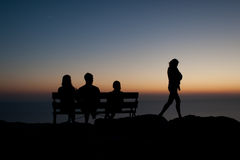 Shadowgraph σε ένα ηλιοβασίλεμα Στοκ Φωτογραφία