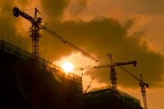 Shadowgraph construction site silhouetted Stock Photography