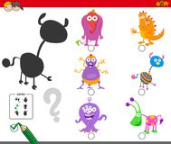 Shadows activity with cartoon monster characters. Cartoon Illustration of Finding the Right Shadow Educational Game for Children with Monster Characters vector illustration