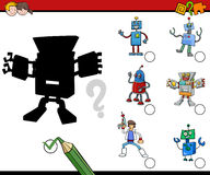 Shadows activity for children. Cartoon Illustration of Find the Shadow Educational Activity for Preschool Children with Robot Characters Royalty Free Stock Photo