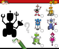 Shadows activity for children. Cartoon Illustration of Find the Shadow Educational Activity for Preschool Children with Robots Stock Photography