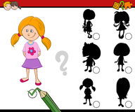 Shadows activity for children. Cartoon Illustration of Find the Shadow Educational Activity Task for Preschool Children with Kid Girl Character Stock Images