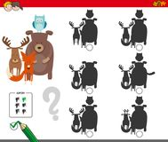 Shadows activity game with animal characters. Cartoon Illustration of Finding the Shadow without Differences Educational Activity for Children with Wild Animal Stock Photo