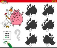 Shadows activity game with cute farm animals. Cartoon Illustration of Finding the Shadow without Differences Educational Activity for Children with Farm Animal Royalty Free Stock Photo