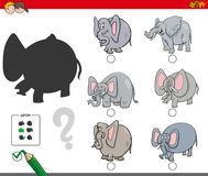 Shadows activity game with elephants. Cartoon Illustration of Finding the Shadow without Differences Educational Activity for Children with Elephants Animal Stock Image