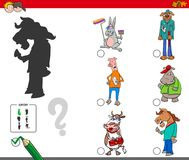 Shadows activity game with fantasy animals. Cartoon Illustration of Finding the Shadow without Differences Educational Activity for Children with Fantasy Animal Stock Image