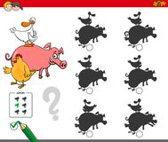 Shadows activity game with farm animals. Cartoon Illustration of Finding the Shadow without Differences Educational Activity for Children with Comic Farm Animal Stock Photo