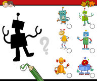 Shadows activity for kids. Cartoon Illustration of Find the Shadow Educational Activity Task for Preschool Children with Robots Royalty Free Stock Photo