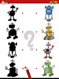 Shadows activity with robots. Cartoon Illustration of Find the Shadow Educational Activity Task for Preschool Children with Robots Royalty Free Stock Photography