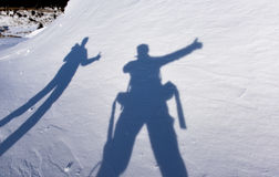 Shadows of adventurous climbers Stock Images