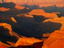Shadows. Along the bottom of the Grand Canyon from the North Rim, Arizona stock photo