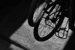The Shadows of Bicycle wheel Stock Photo