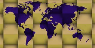 3d blue world map in 3d golden cubes Royalty Free Stock Photo