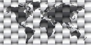 3d world map over black and white. Shadows 3d over blue map of the world Stock Photos