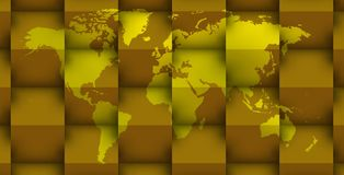 3d world map in 3d golden cubes Stock Photography