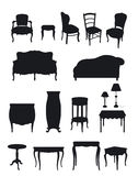 Shadows furniture. Shadows of chairs, tables and sofas Vector Illustration
