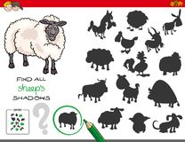 Shadows game with sheep characters Royalty Free Stock Photos