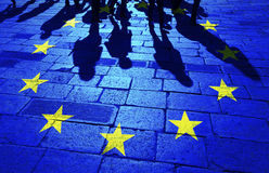 Shadows group of people and Eu flag Royalty Free Stock Photography
