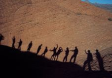 Shadows of hikers in Utah mountains Royalty Free Stock Image