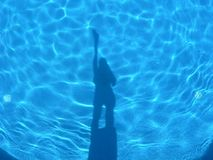 Shadows in the light blue swiming pool. Human figure shadows in the light blue swiming pool Royalty Free Stock Images
