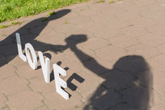 Shadows of love couple Stock Photo