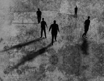 Shadows of men on grungy texture 3d illustration. stock illustration