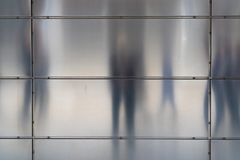 Shadows on the metal facade of a house in the hamburger HafenCit royalty free stock image