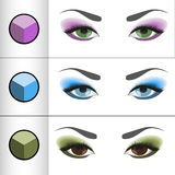 Shadows Pallettes for different eye colors. Vector illustration of shadows palettes for different eye colors Stock Images