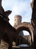Shadows of the past. Ruins of Dracula's Castle at Targoviste royalty free stock image