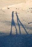 Shadows of people in the desert Royalty Free Stock Photo