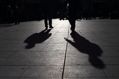 Shadows of people walking in a street of the city, Athens Stock Photo
