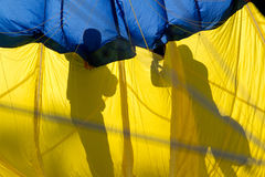 Shadows Prepping the Hot Air Balloon Royalty Free Stock Images