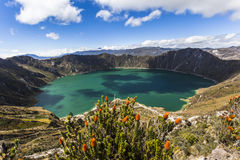 Shadows on the Quilotoa lagoon Royalty Free Stock Photo