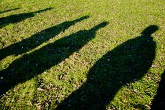Shadows of several people on the green grass stock image