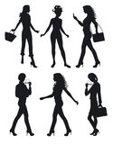 Shadows of six women. Shadows of six young women standing Royalty Free Illustration