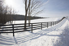 Winter Fenceline. Shadows in the snow from a black wooden fence form a real pleasant landscape Royalty Free Stock Images