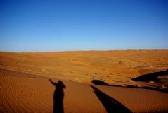 Shadows at Sunset at Wahiba Sands Royalty Free Stock Image