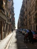 Narrow street in Barcelona stock images