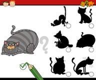 Shadows task cartoon with cats Stock Image