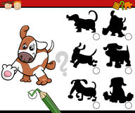 Shadows task cartoon with dogs Royalty Free Stock Images