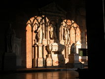Shadows on Tomb. Light and shadows on a tomb in a romanian style cathedral Stock Photos