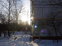 Shadows from the trees on the snow in winter Park. Moscow royalty free stock photography