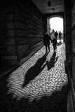 Shadows. The shadows of the tunnel, people walking around. Budapest in Hungary Royalty Free Stock Images