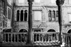Shadows of Venetian Patio. Venetian influences, Trogir, Croatia 2016 Stock Image