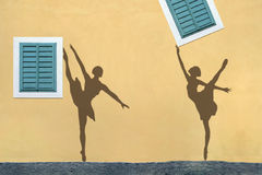 Shadows on the wall, ballet Royalty Free Stock Photo