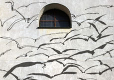 Shadows on the wall, Birds Stock Photography
