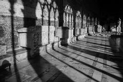 Shadows on the wall. Camposanto building in Pisa, Italy Royalty Free Stock Images